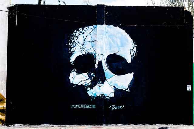 """Mural de la campaña """"Salva el Ártico"""" para Greenpeace  Dase. Rebobinart Flickr"""