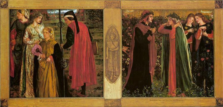 """""""El saludo a Beatriz"""", por Gabriel Rossetti (1859)."""
