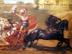 """Aquiles triunfante"", fresco del Achilleion de Corfú"